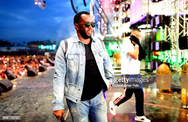 Sean Diddy Combs performs with French Montana onstage during the 2018 Coachella Valley Music and Arts Festival Weekend 1 at the Empire Polo Field on...