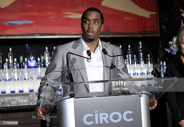 Sean Diddy Combs speaks during a press conference to announce a partnership with Ciroc vodka at Stone Rose on October 24 2007 in New York City