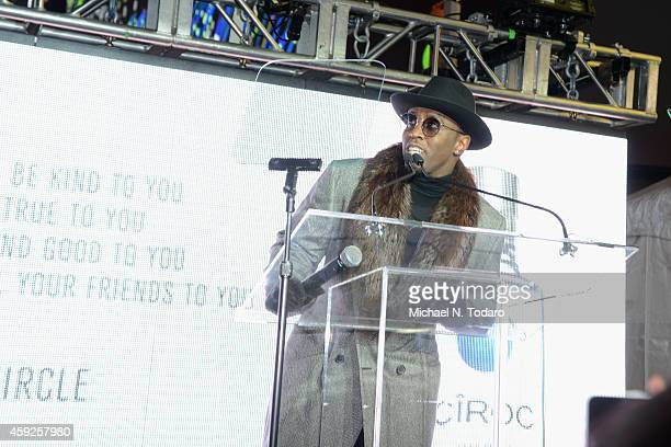 Sean Diddy Combs speaks onstage at CIROC Step Into The Circle Launch hosted by Sean Diddy Combs in Times Square on November 19 2014 in New York City