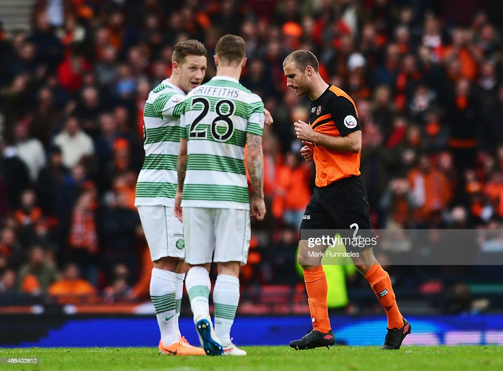 Sean Dillon of Dundee United leaves the field after being sent off during the Scottish League Cup Final between Dundee United and Celtic at Hampden Park on March 15, 2015 in Glasgow, Scotland.