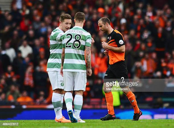 Sean Dillon of Dundee United leaves the field after being sent off during the Scottish League Cup Final between Dundee United and Celtic at Hampden...
