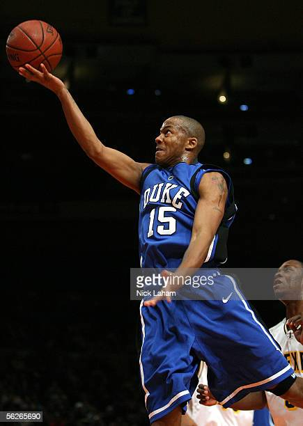 Sean Dockery of the Duke Blue Devils goes in for a layup during their Preseason NIT game against the Drexel Dragons at Madison Square Garden on...