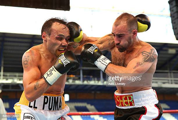 Sean Dodd and Pasquale Di Silvio trade punches during the Vacant WBC International Lightweight Championship fight between Sean Dodd and Pasquale Di...
