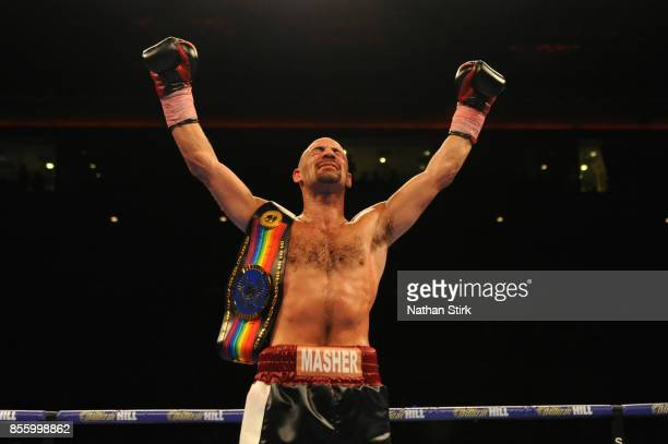 Sean Dodd celebrates beating Tom Stalker during the Battle on the Mersey Commonwealth Lightweight Championship fight at Echo Arena on September 30...
