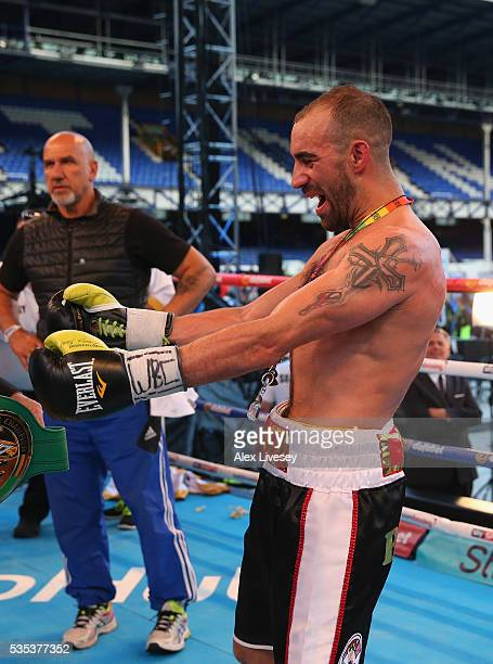 Sean Dodd celebrates victory over Pasquale Di Silvio after the Vacant WBC International Lightweight Championship fight between Sean Dodd and Pasquale...