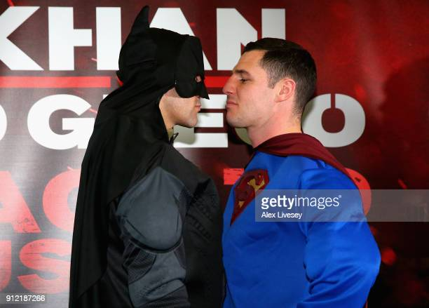 Sean Dodd dressed as Batman and Tommy Coyle dressed as Superman during an Amir Khan and Phil Lo Greco press conference at the Hilton Hotel on January...