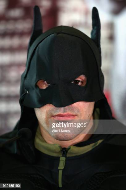 Sean Dodd dressed as Batman speaks during an Amir Khan and Phil Lo Greco press conference at the Hilton Hotel on January 30 2018 in Liverpool England