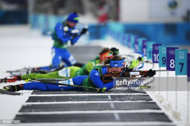 Sean Doherty of the United States competes during the Men's 4x75km Biathlon Relay on day 14 of the PyeongChang 2018 Winter Olympic Games at Alpensia...