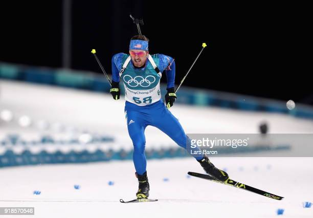 Sean Doherty of the United States finishes during the Men's 20km Individual Biathlon at Alpensia Biathlon Centre on February 15 2018 in...