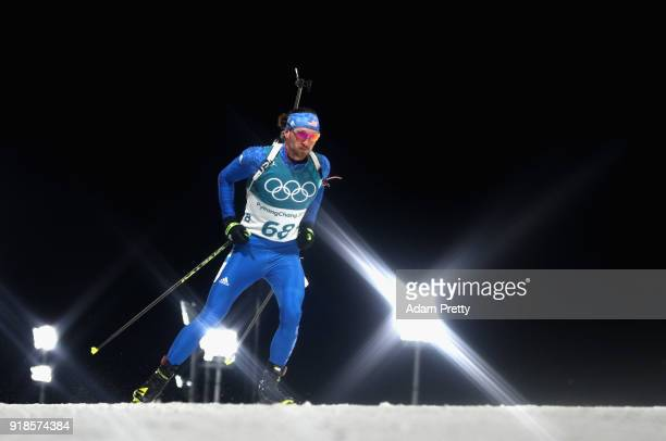 Sean Doherty of the United States makes a run during the Men's 20km Individual Biathlon at Alpensia Biathlon Centre on February 15 2018 in...
