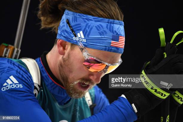 Sean Doherty of the United States reacts after finishing during the Men's 10km Sprint Biathlon on day two of the PyeongChang 2018 Winter Olympic...