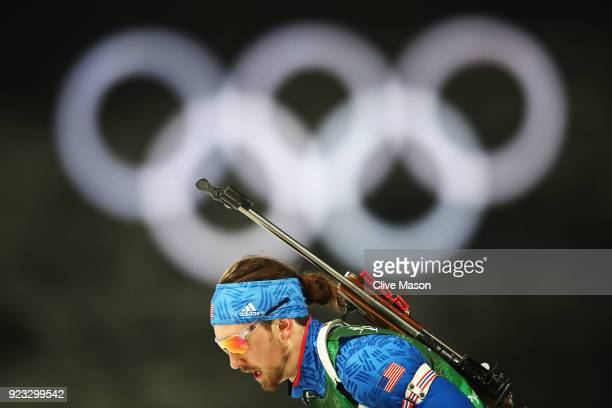 Sean Doherty of the United States warms up prior to the Men's 4x75km Biathlon Relay on day 14 of the PyeongChang 2018 Winter Olympic Games at...