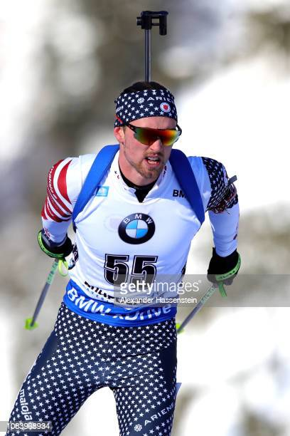 Sean Doherty of USA competes at the 10 km Men's Sprint during the IBU Biathlon World Cup at Chiemgau Arena on January 17 2019 in Ruhpolding Germany