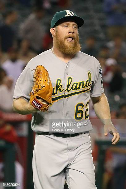 Sean Doolittle of the Oakland Athletics looks on during a baseball game against the Los Angeles Angels of Anaheim at Angel Stadium of Anaheim on June...