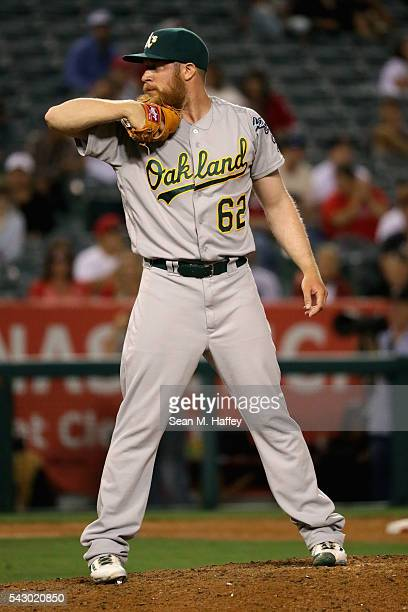 Sean Doolittle of the Oakland Athletics pitches during the ninth inning of a baseball game against the Los Angeles Angels of Anaheim at Angel Stadium...