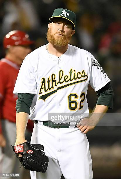 Sean Doolittle of the Oakland Athletics reacts after giving up a tworun homer to Geovany Soto of the Los Angeles Angels of Anaheim in the top of the...