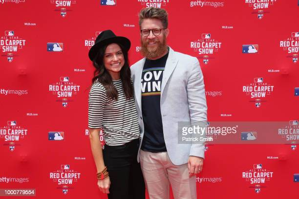 Sean Doolittle of the Washington Nationals and the National League attends the 89th MLB AllStar Game presented by MasterCard red carpet with wife...