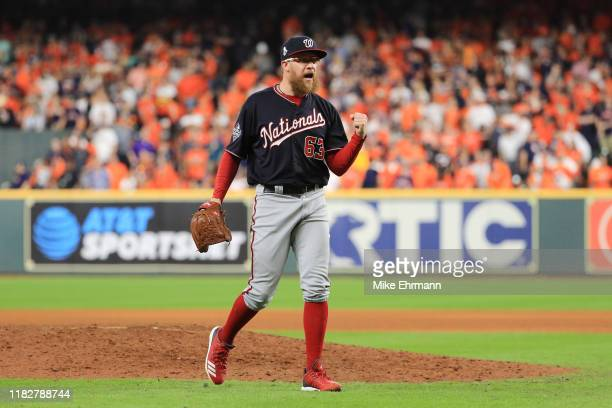 Sean Doolittle of the Washington Nationals celebrates after closing out the teams 54 win over the Houston Astros in Game One of the 2019 World Series...