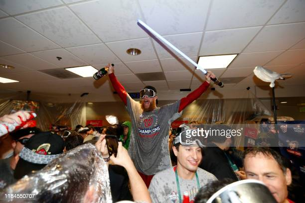 Sean Doolittle of the Washington Nationals celebrates in the locker room after defeating the Houston Astros in Game Seven to win the 2019 World...