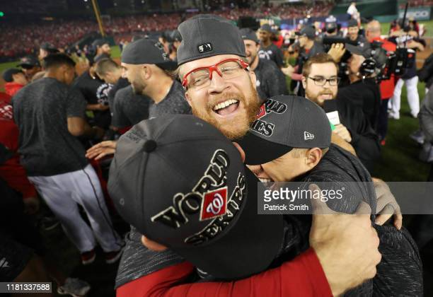 Sean Doolittle of the Washington Nationals celebrates winning game four and the National League Championship Series against the St Louis Cardinals at...