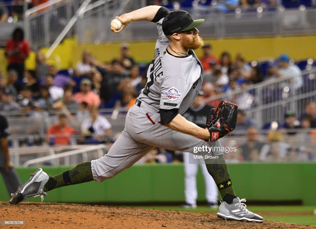 Sean Doolittle #62 of the Washington Nationals closes the game during the ninth inning against the Miami Marlins at Marlins Park on May 26, 2018 in Miami, Florida.
