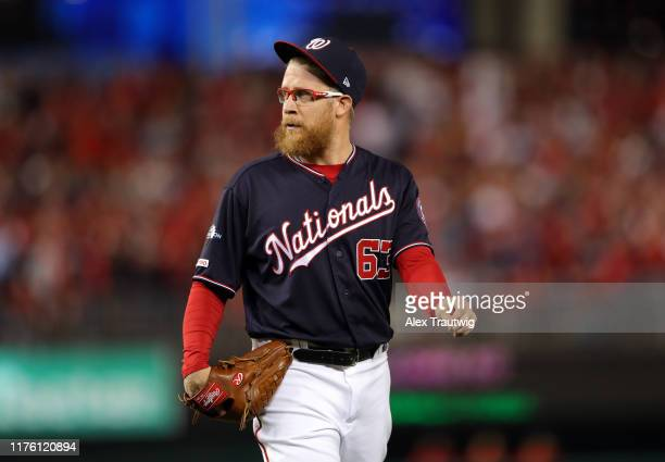 Sean Doolittle of the Washington Nationals comes out of the game in the eighth inning of Game 4 of the NLCS between the St Louis Cardinals and the...