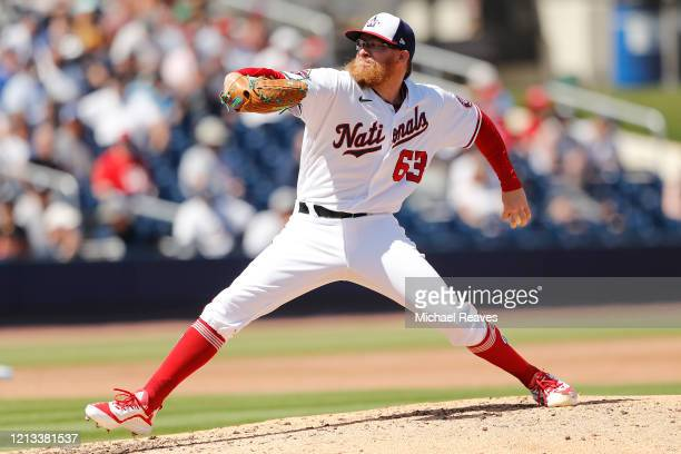 Sean Doolittle of the Washington Nationals delivers a pitch against the New York Yankees during a Grapefruit League spring training game at FITTEAM...