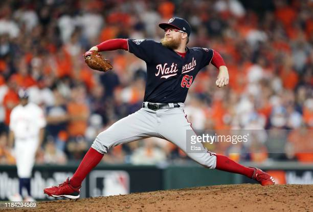 Sean Doolittle of the Washington Nationals delivers the pitch against the Houston Astros during the ninth inning in Game Six of the 2019 World Series...