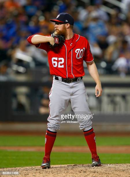 Sean Doolittle of the Washington Nationals in action against the New York Mets at Citi Field on September 23 2017 in the Flushing neighborhood of the...