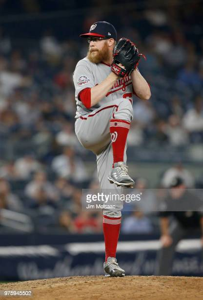 Sean Doolittle of the Washington Nationals in action against the New York Yankees at Yankee Stadium on June 13 2018 in the Bronx borough of New York...