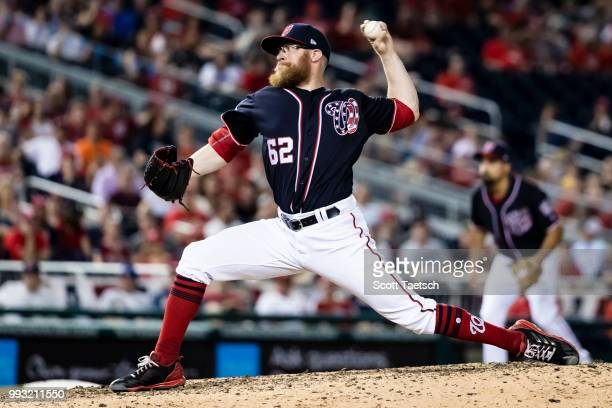 Sean Doolittle of the Washington Nationals pitches against the Miami Marlins during the ninth inning at Nationals Park on July 06 2018 in Washington...