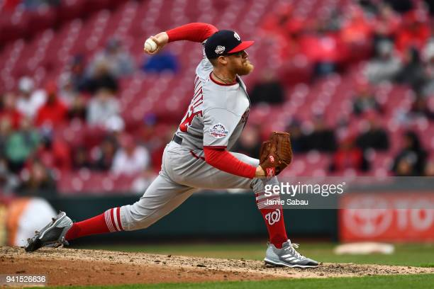 Sean Doolittle of the Washington Nationals pitches against the Cincinnati Reds at Great American Ball Park on April 1 2018 in Cincinnati Ohio Sean...