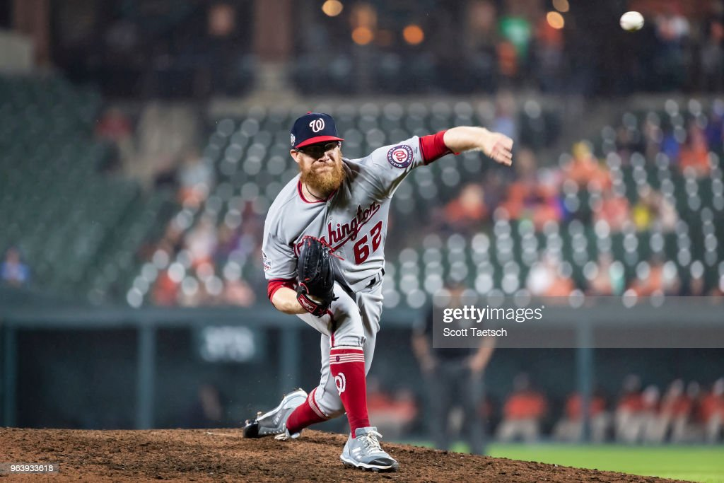 Sean Doolittle #62 of the Washington Nationals pitches against the Baltimore Orioles during the ninth inning at Oriole Park at Camden Yards on May 30, 2018 in Baltimore, Maryland.