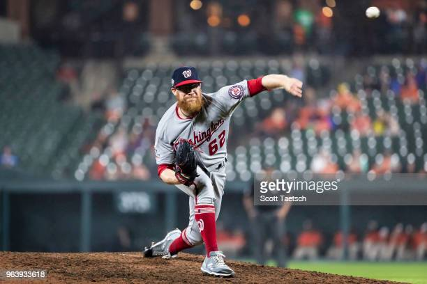 Sean Doolittle of the Washington Nationals pitches against the Baltimore Orioles during the ninth inning at Oriole Park at Camden Yards on May 30...