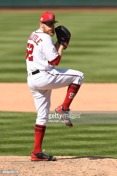 Sean Doolittle of the Washington Nationals pitches during a baseball game against the Colorado Rockies at Nationals Park on April 14 2018 in...
