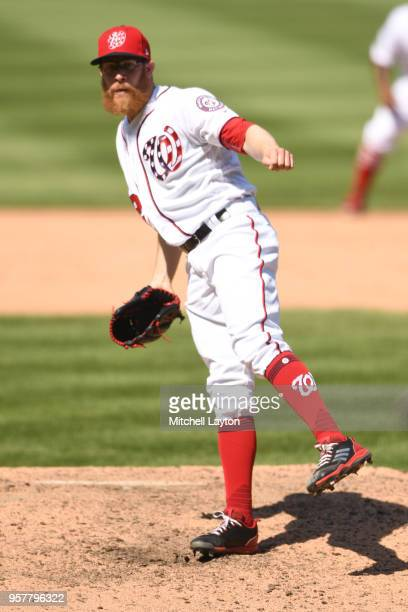 Sean Doolittle of the Washington Nationals pitches during a baseball game against the Pittsburgh Pirates at Nationals Park on May 3 2018 in...