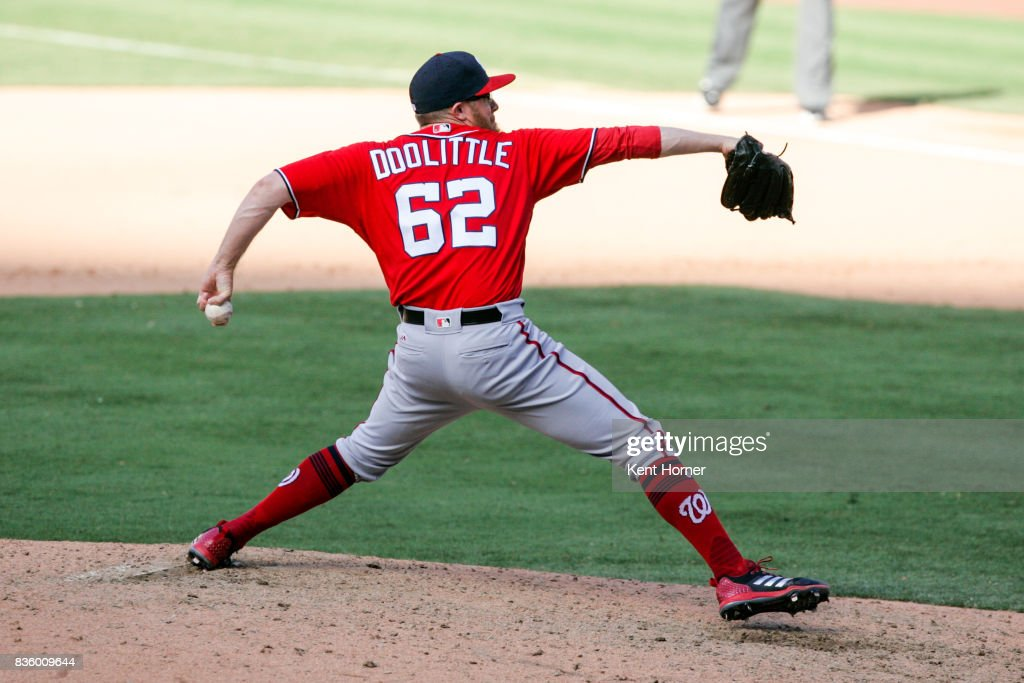 Sean Doolittle #62 of the Washington Nationals pitches during the ninth inning against the San Diego Padres at PETCO Park on August 20, 2017 in San Diego, California.