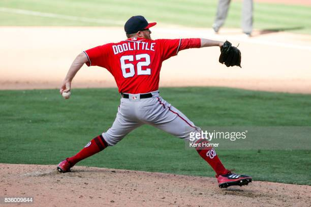 Sean Doolittle of the Washington Nationals pitches during the ninth inning against the San Diego Padres at PETCO Park on August 20 2017 in San Diego...