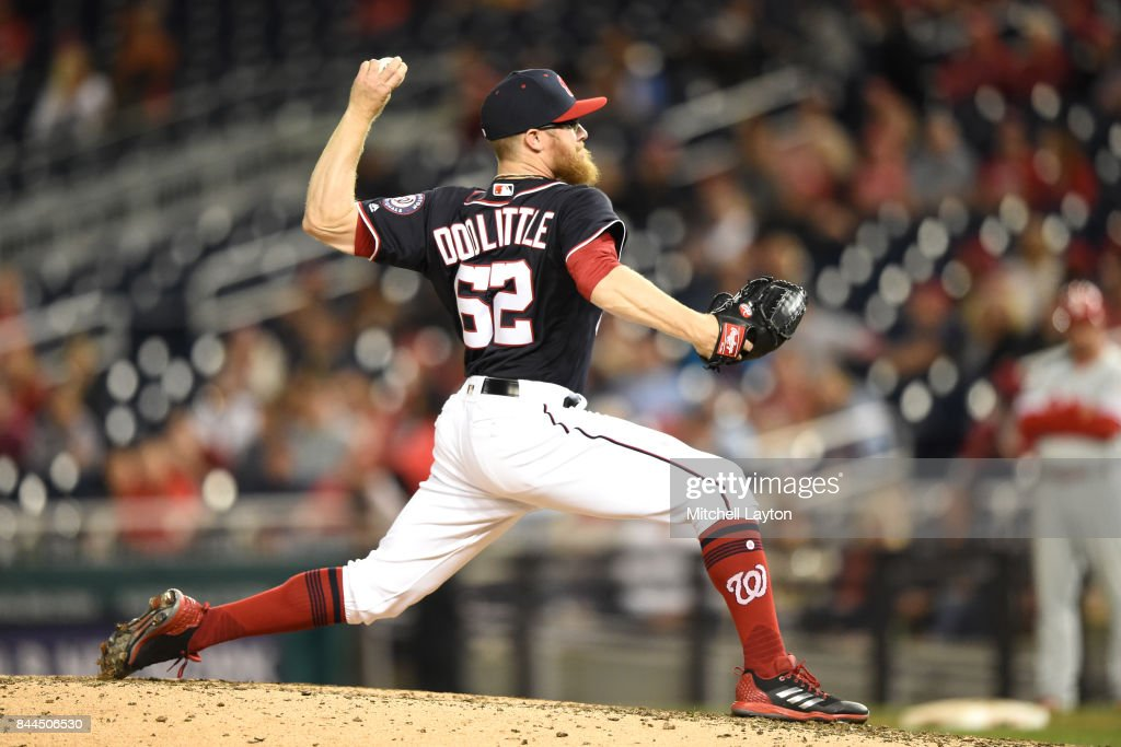 Sean Doolittle #62 of the Washington Nationals pitches in the ninth inning during a baseball game against the Philadelphia Phillies at Nationals Park on September 8, 2017 in Washington, DC.