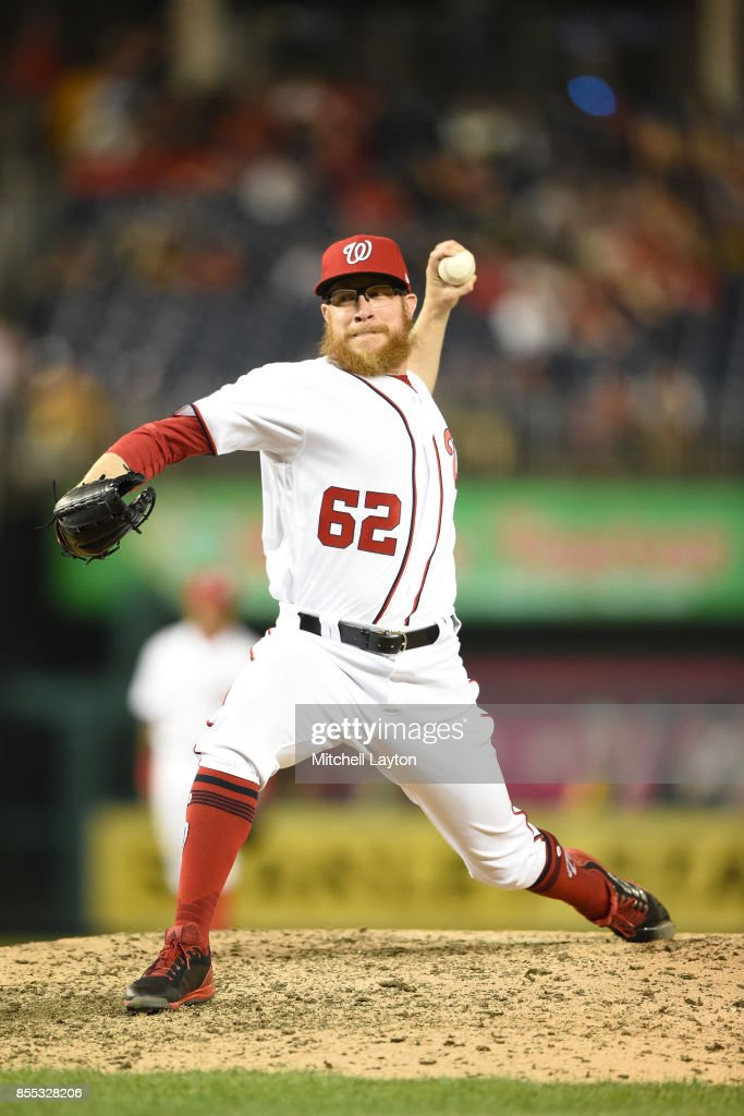 Sean Doolittle #62 of the Washington Nationals pitches in the ninth inning during a baseball game against the Pittsburgh Pirates at Nationals Park on September 28, 2017 in Washington, DC.