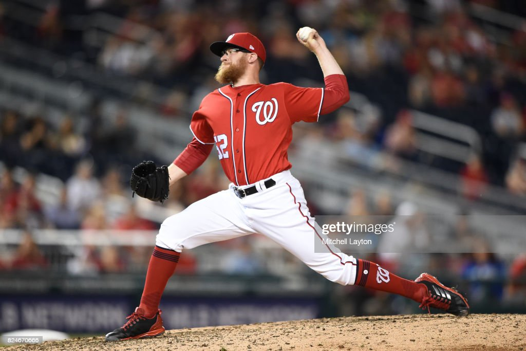 Sean Doolittle #62 of the Washington Nationals pitches in the ninth inning during game two of a doubleheader against the Colorado Rockies at Nationals Park on July 30, 2017 in Washington, DC.
