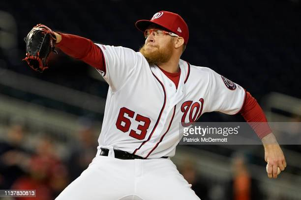 Sean Doolittle of the Washington Nationals pitches in the ninth inning against the San Francisco Giants at Nationals Park on April 17 2019 in...