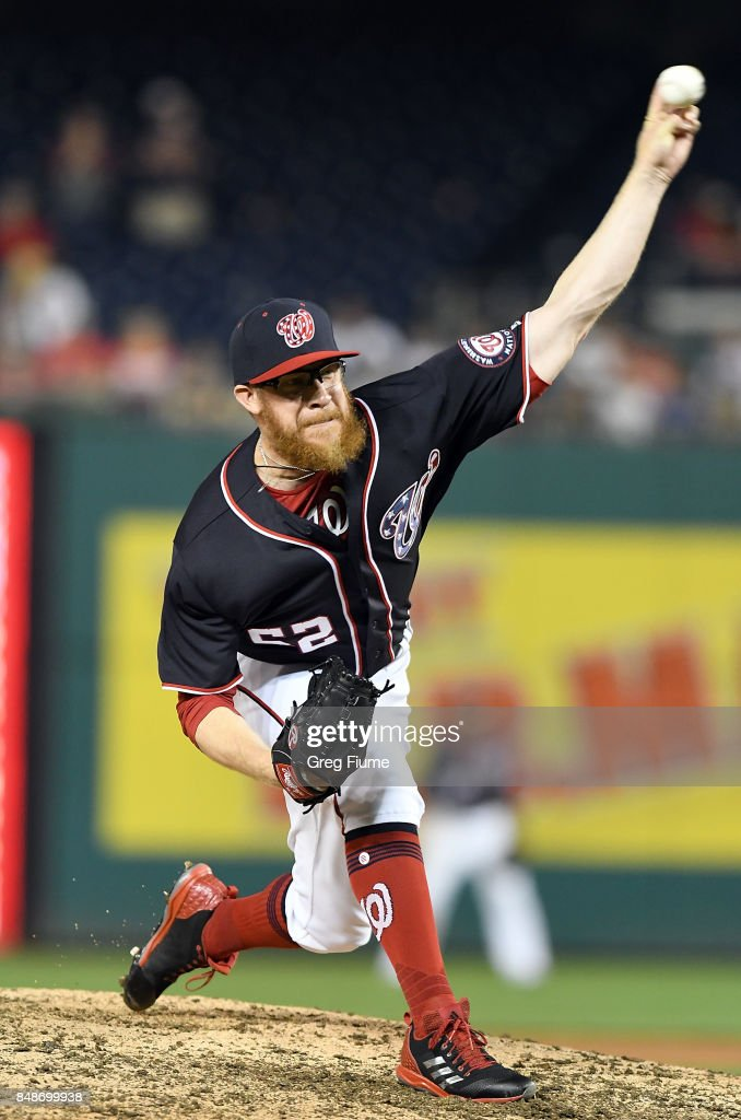 Sean Doolittle #62 of the Washington Nationals pitches in the ninth inning against the Los Angeles Dodgers at Nationals Park on September 17, 2017 in Washington, DC.