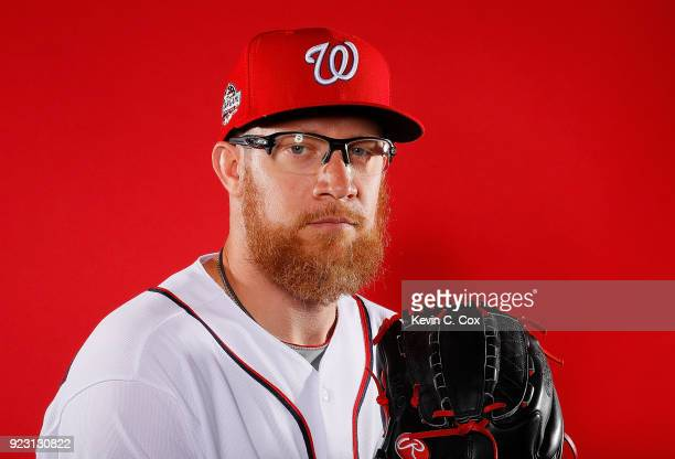 Sean Doolittle of the Washington Nationals poses for a photo during photo days at The Ballpark of the Palm Beaches on February 22 2018 in West Palm...