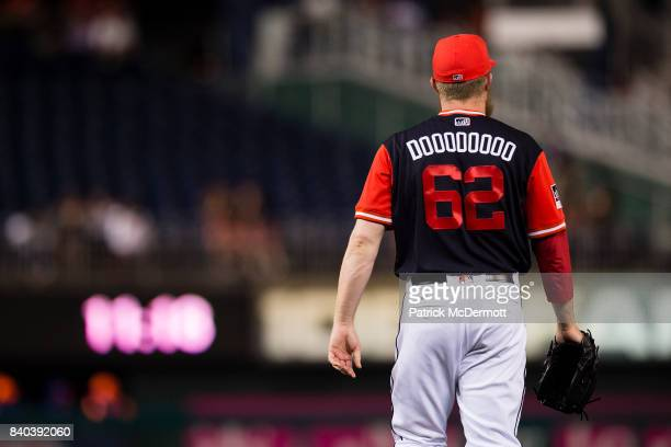 Sean Doolittle of the Washington Nationals prepares to pitch in the ninth inning against the New York Mets during Game Two of a doubleheader at...