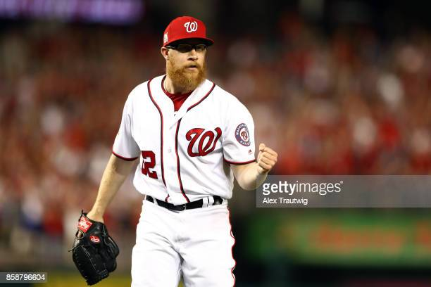 Sean Doolittle of the Washington Nationals reacts after the last out to win Game 2 of the National League Division Series 63 against the Chicago Cubs...