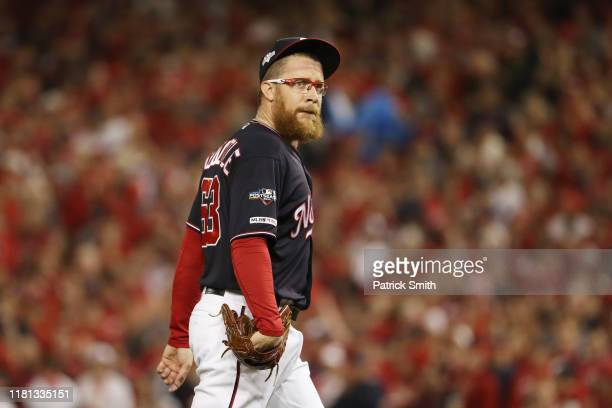 Sean Doolittle of the Washington Nationals reacts as he comes out of the during game four of the National League Championship Series at Nationals...