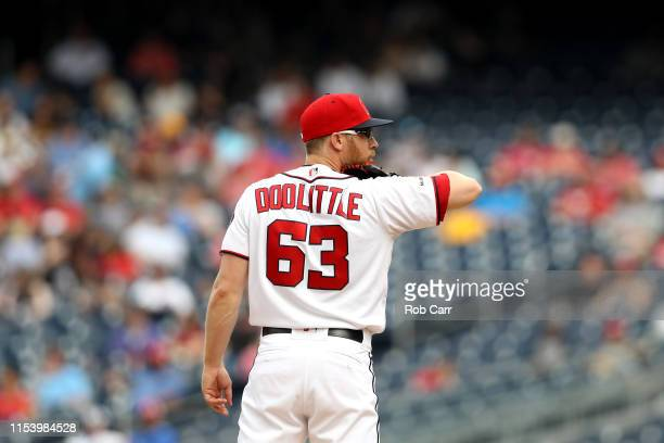 Sean Doolittle of the Washington Nationals waits to pitch against the Chicago White Sox in the ninth inning at Nationals Park on June 05 2019 in...