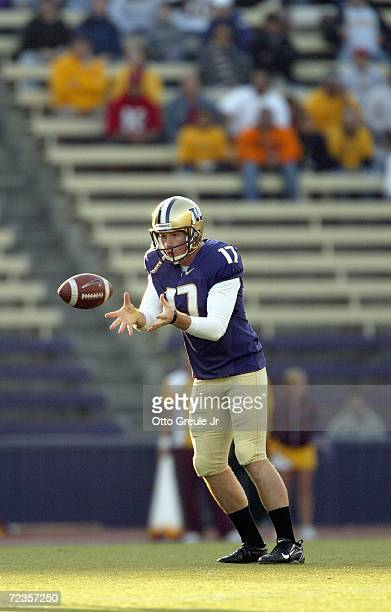 Sean Douglas of the Washington Huskies punts the ball during the game against the Arizona State Sun Devils on October 28 2006 at Husky Stadium in...
