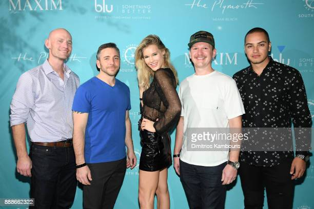 Sean Driscoll Nick Larkins Joy Corrigan Matt Kessler and Daniel George attend the Maxim December Miami Issue Party Presented by blu on December 8...